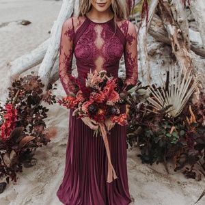 ASOS DESIGN maxi dress with lace sleeves